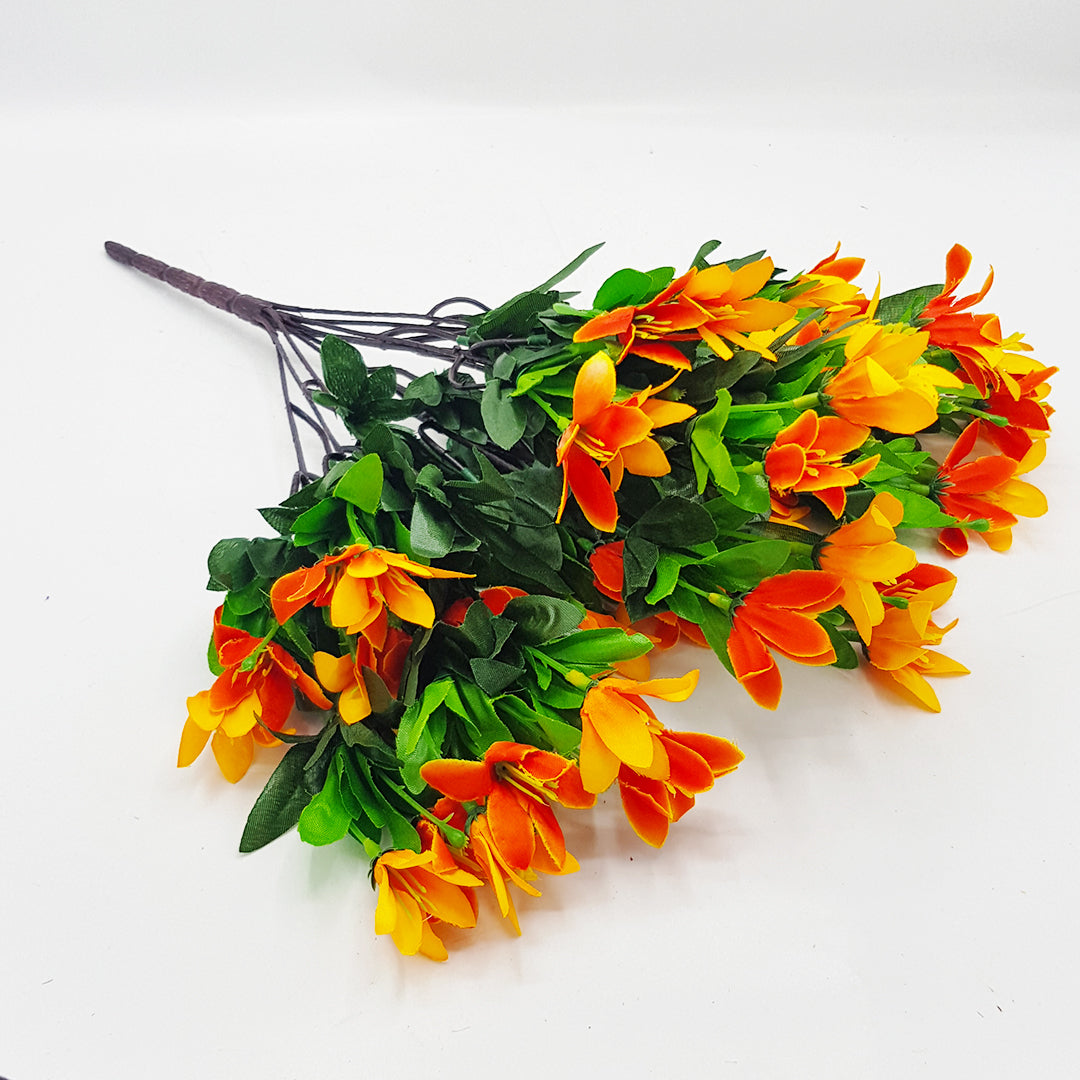 Orange Bunch of Flowers with Green Leaves