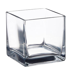 Clear Square Glass Table Vase 10cm