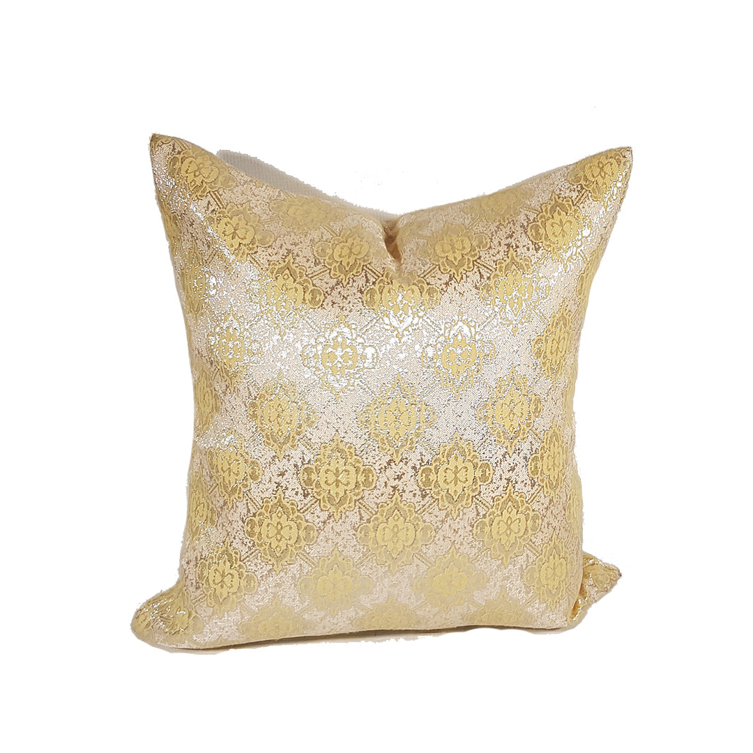 Cream Throw Pillow with Gold Design