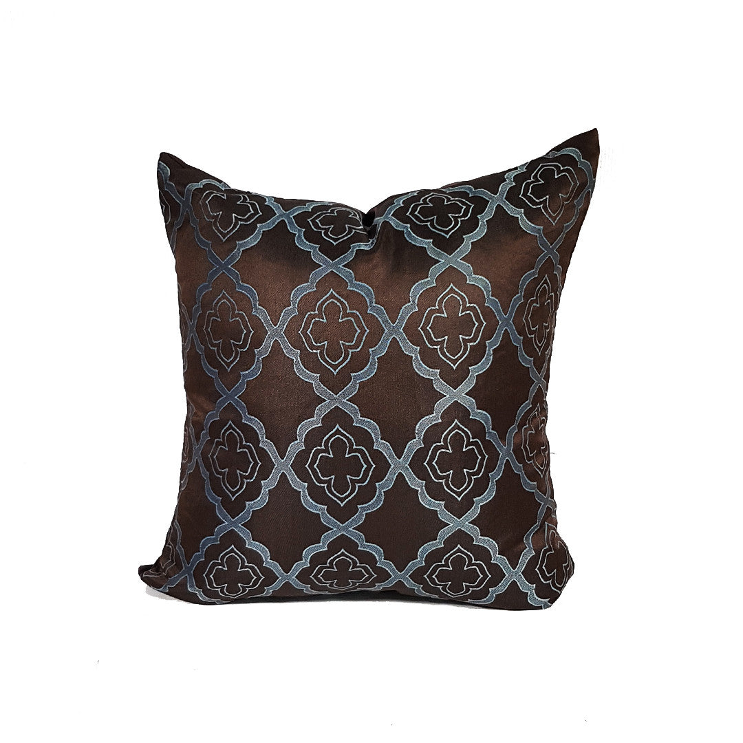 Torquise Design on Brown Throw Pillow Cover