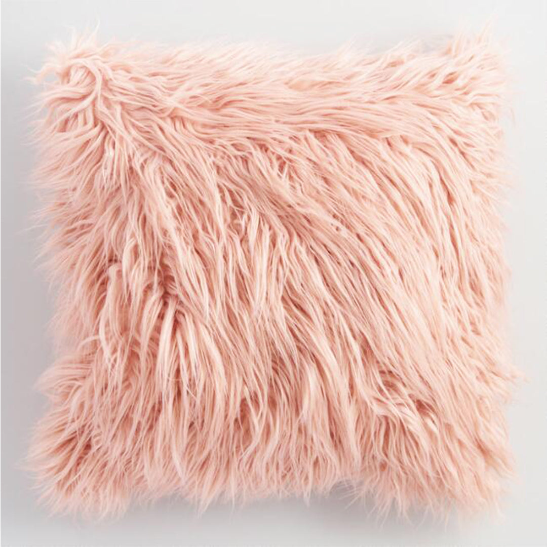 Faux Fur Throw Pillow Coral