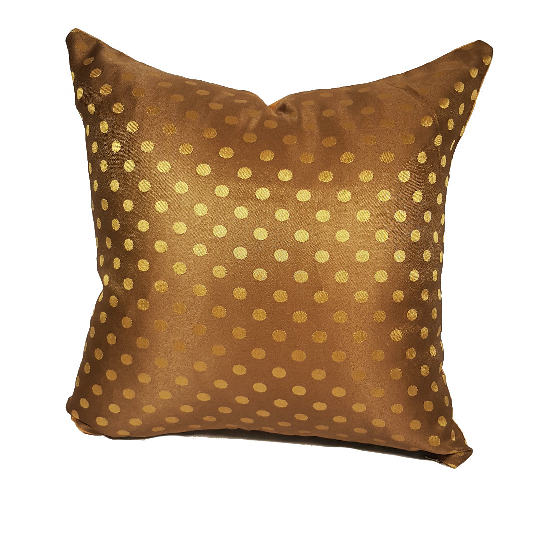 Gold Dotted Throw Pillow Cover