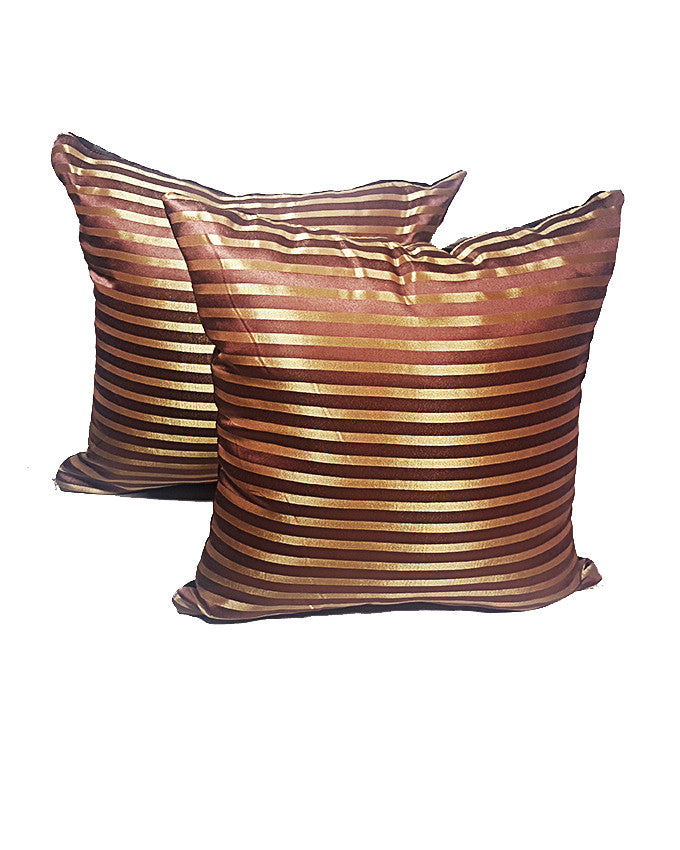 Pair of Gold and Brown Striped Throw Pillows