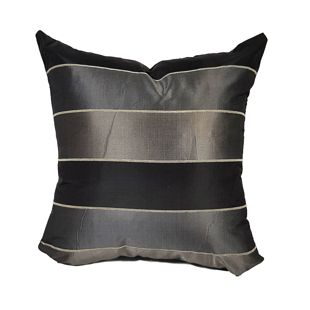 Black and Silver Grey Striped Throw Pillows