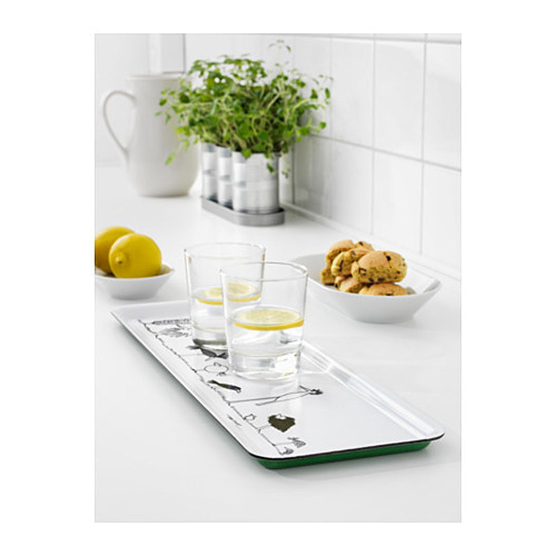 ÖNSKEDRÖM Tray, white, black green