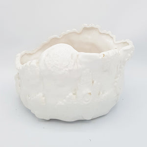 Uneven Shape (Textured) Ceramic Table Vase - White