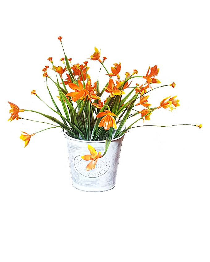 Flowers in Tin Bucket Vase - Orange Flowers