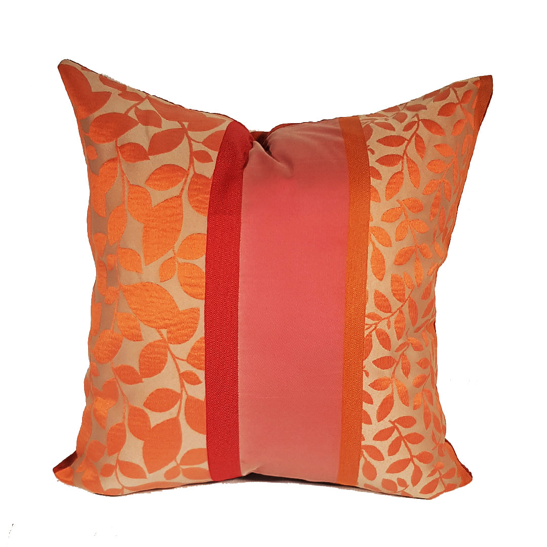 Coral and Pink Leaf-Themed Throw Pillow Cover