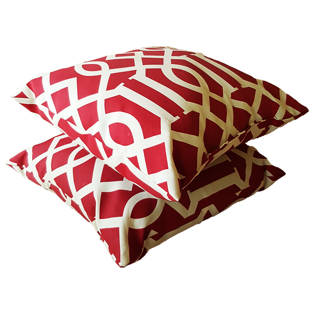 Pair of Red and White Throw Pillows