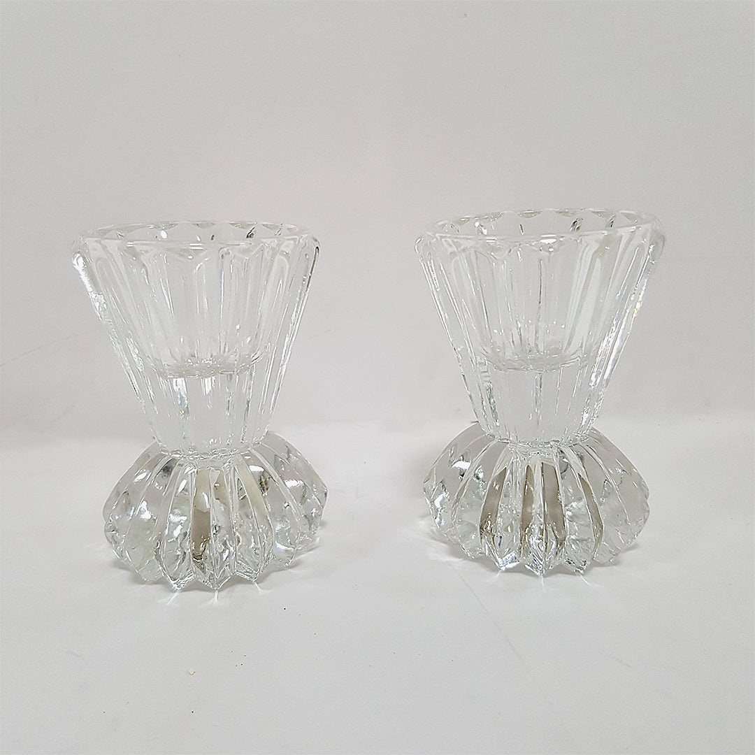 Pair of Glass Tea Light Candle Holders Heavy