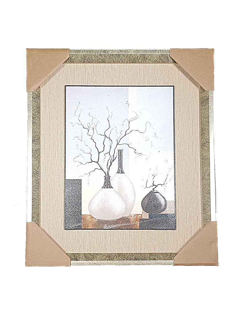 Framed Painting of Vases with Dry Twigs