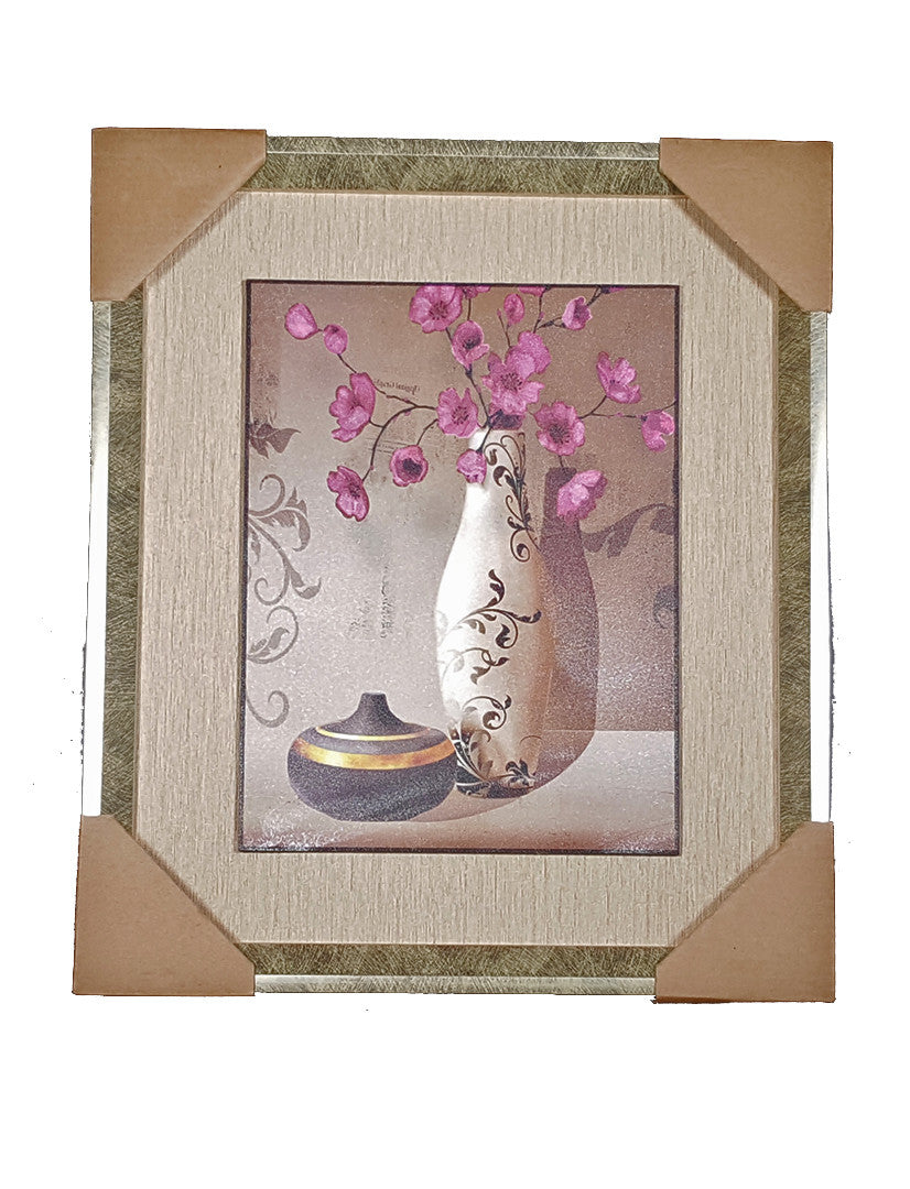 Framed Painting of Vase and Purple Flowers