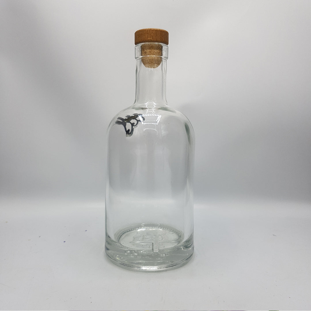 Recycled Glass Bottle with Flowers and with Cork - Use as Vase, or Liquid Container