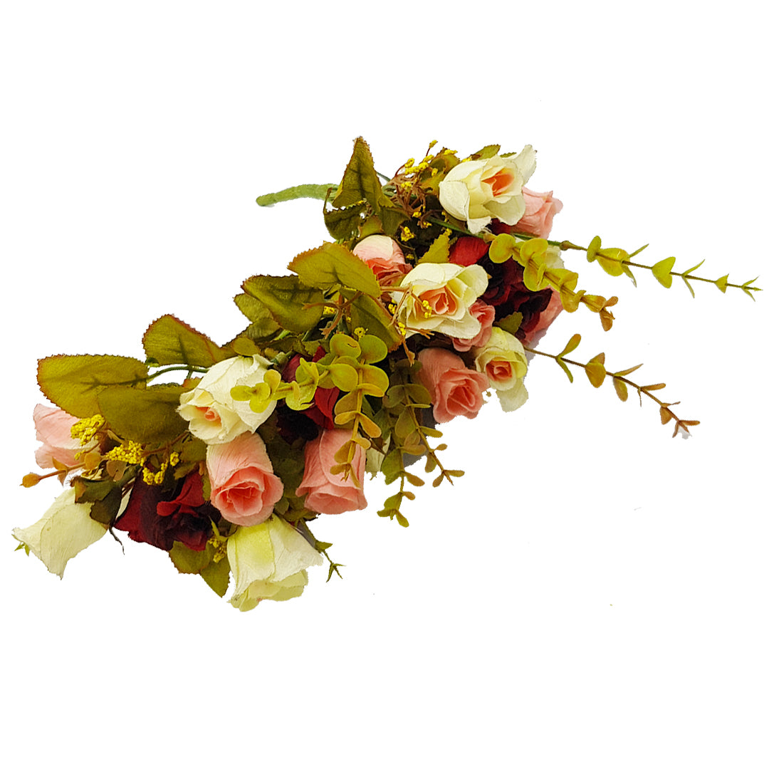Small Roses Bunch -Deep Red, Cream, and Hues of Pink
