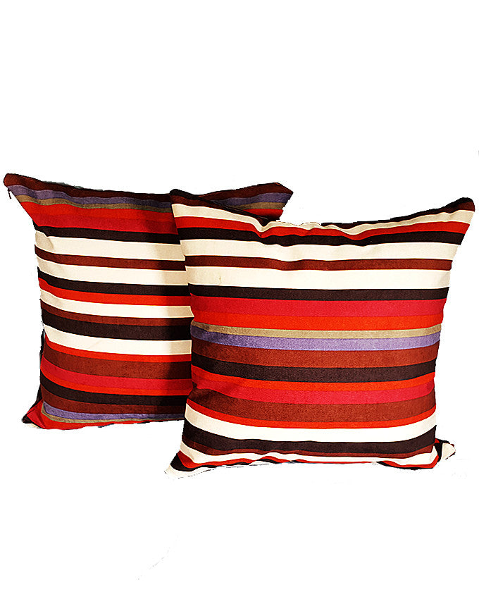 Pair of Mulit-Colored Striped Throw Pillows