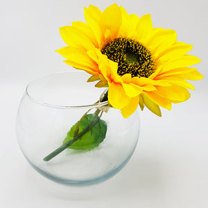 Small Round Glass Vase - 11cm Height