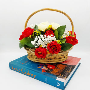 Small Cane Basket of Flowers