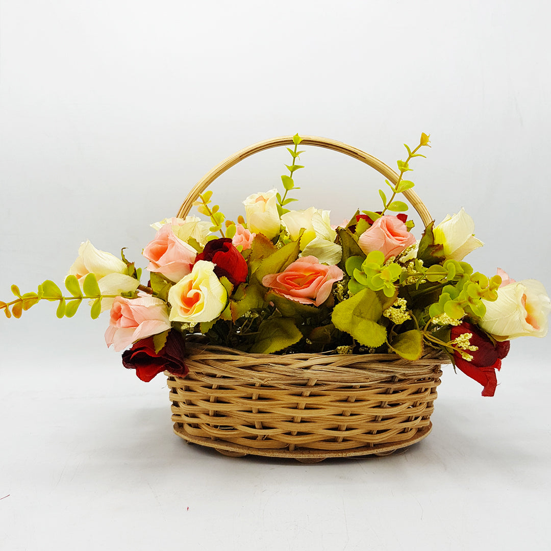 Small Cane Basket of Flowers - Option2