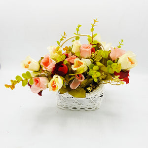 Small White Basket of Flowers - Option2