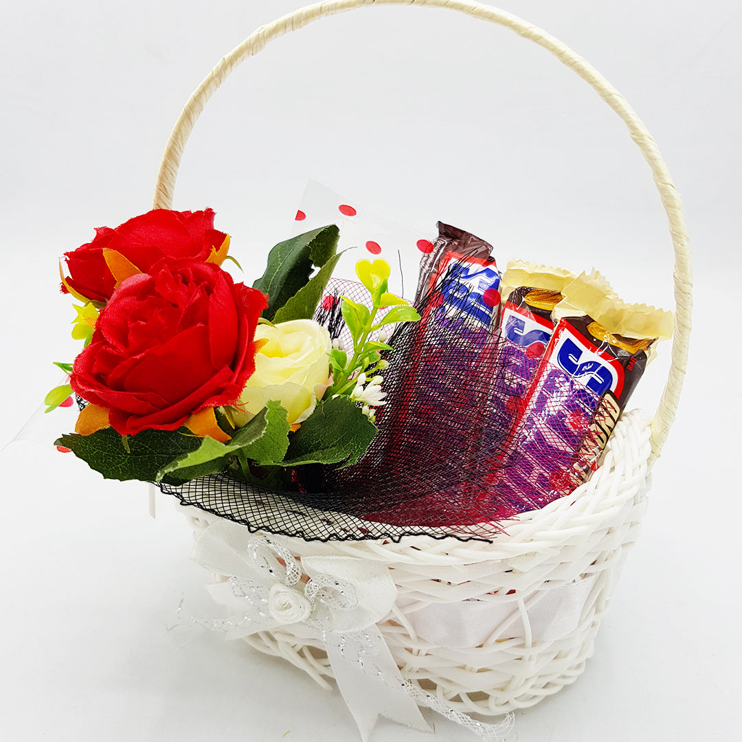 Mini Valentine Basket with Flowers