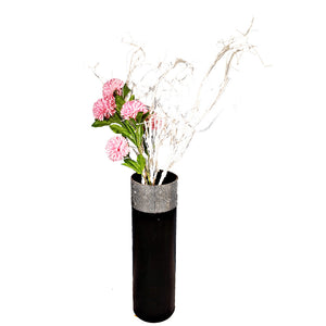 Floor Vase - Black with Diamond-like top (Medium)