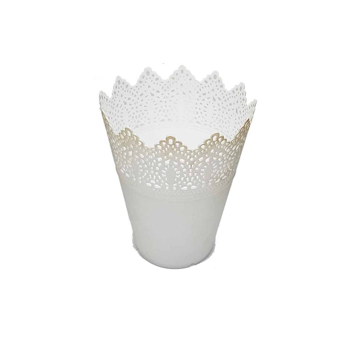 White Lace Table Planter/Vase - 18.5cm Height