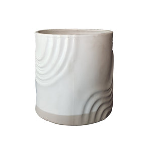White Cylindrical Table Vase - Ceramic
