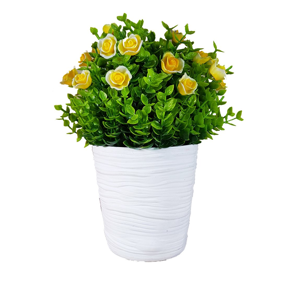 White Vase With Flower Yellow Red Acacias Again Bargain Store
