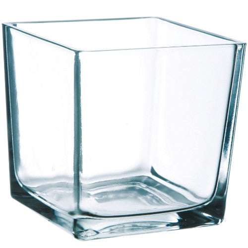 Clear Square Glass Table Vase - 12cm