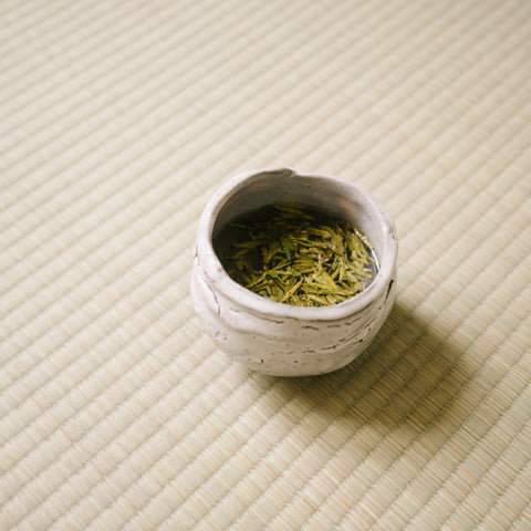 Fuding Silver Needle White Tea in a white cup on white mat