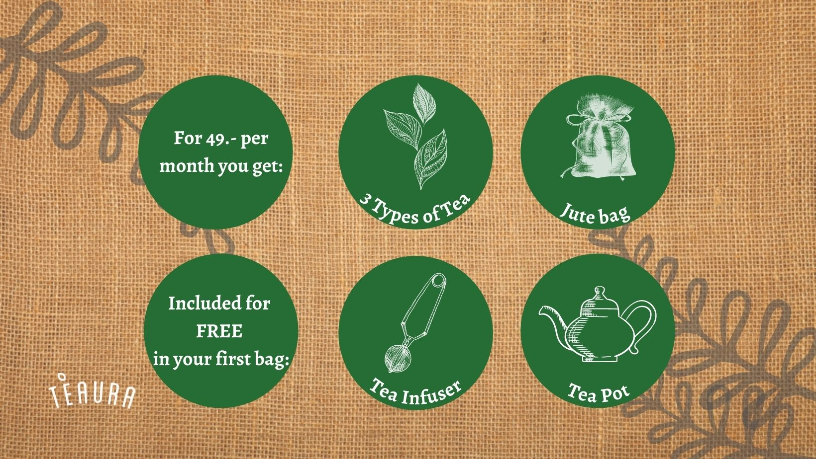 Jute Bag tea Subscription includes for 49.- per month 3 teas, a jute bag and get an infuser and tea pot free in your first bag
