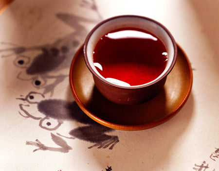 Bio Flussig rote Rooibos Tee in rote Teetasse - Organic liquid red Rooibos tea in red teacup