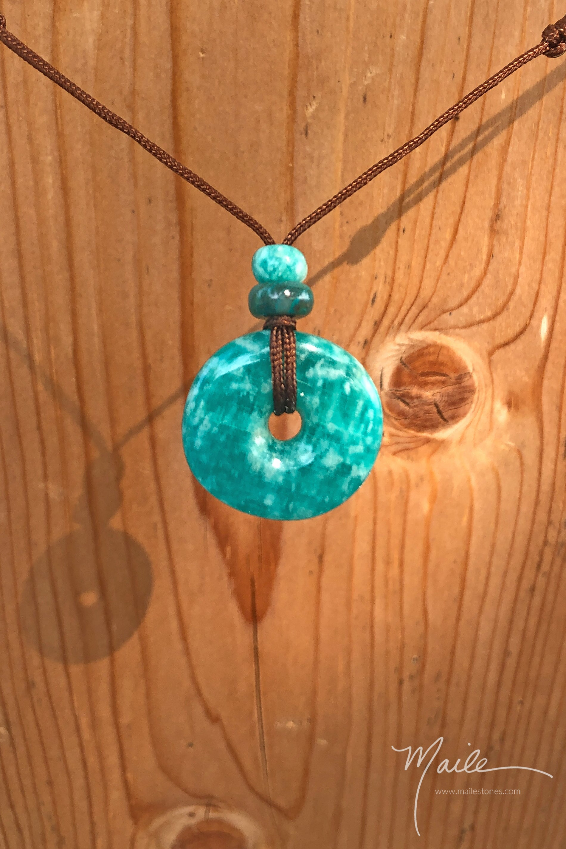 Amazonite Torus Love Bead Necklace