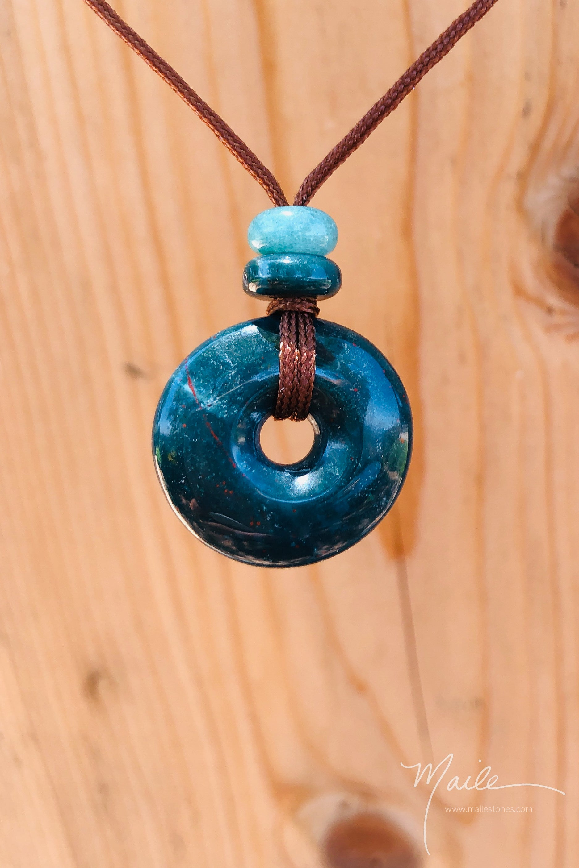 Bloodstone Torus Love Bead