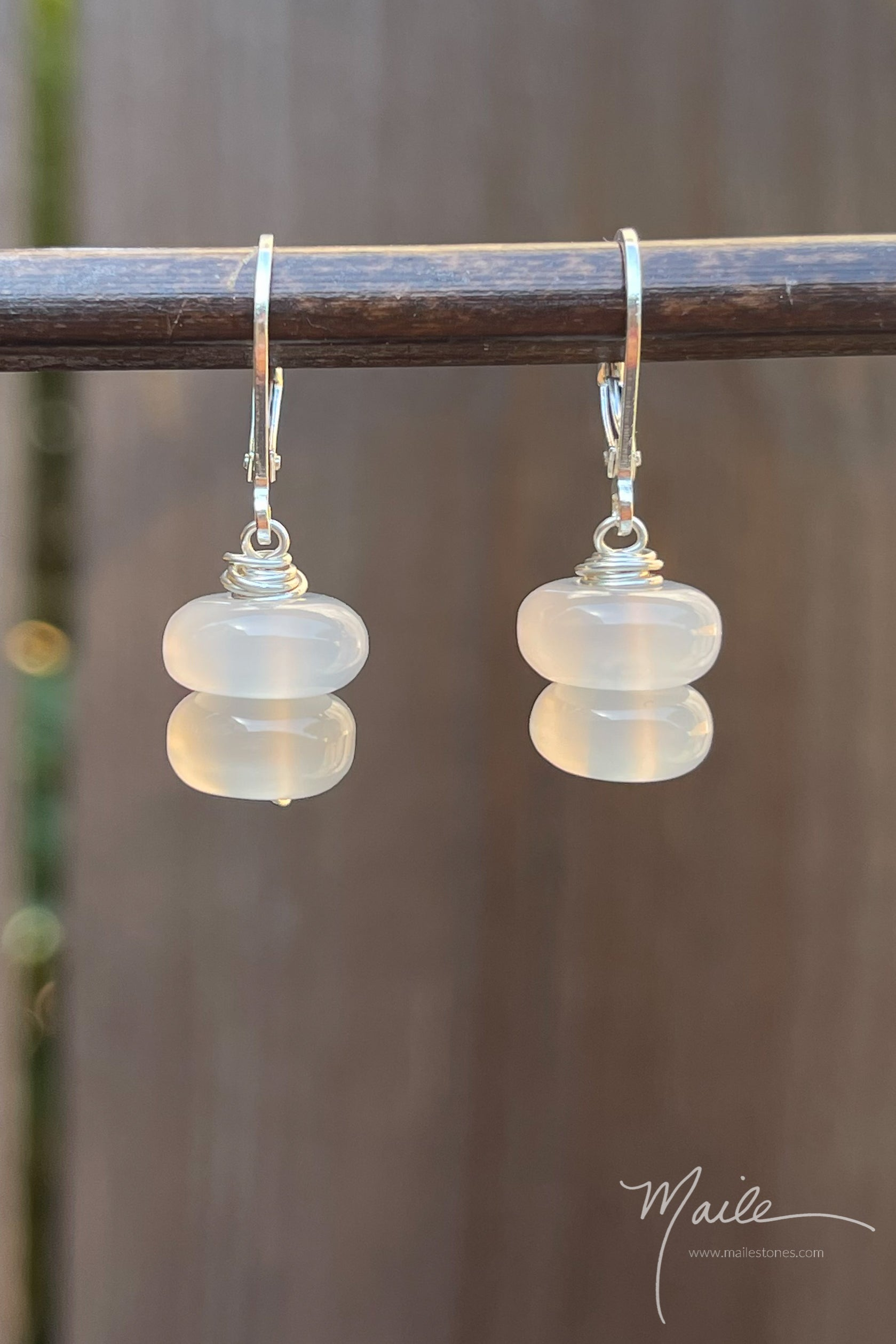 White Agate Earrings