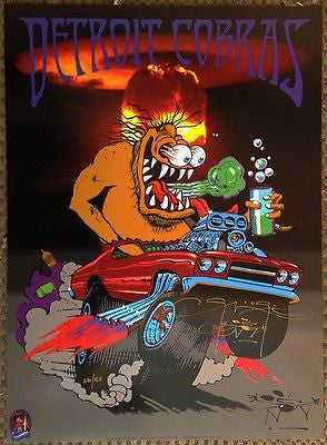 MINT DETROIT COBRAS MONSTER ROD '04 CONCERT TOUR POSTER SIGNED BY STANLEY MOUSE!
