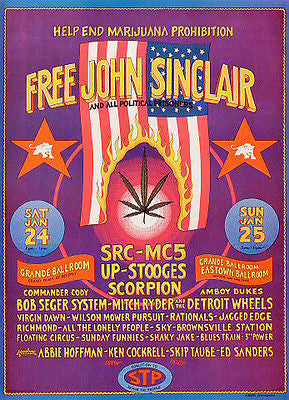 '70 FREE JOHN NOW MC5 STOOGES GRANDE BALLROOM POSTER OFFICIAL 2ND GRIMSHAW JC019