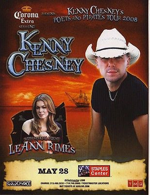 VERY NICE SOUTHERN CALIFORNIA KENNY CHESNEY LEANN RIMES SOCAL CONCERT HANDBILL