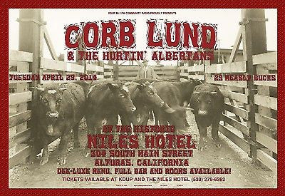 MINT 2014 CORB LUND & THE HURTIN' ALBERTANS ALTURAS CALIFORNIA CONCERT POSTER