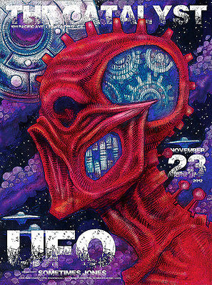 KILLER MINT '12 UFO THE CATALYST SANTA CRUZ, CA CONCERT POSTER CHRIS CONROY JC78