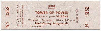 UNUSUAL SCARCE MINT UNUSED TOWER OF POWER ORLEANS PORTLAND OREGON CONCERT TICKET