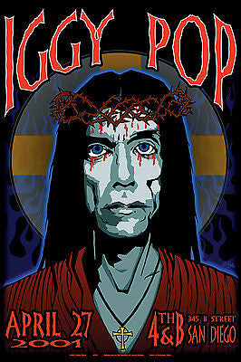 ORIGINAL ICONIC MINT IGGY POP 2001 SAN DIEGO CONCERT POSTER ART OF MODERN ROCK