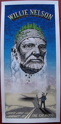 MINT 06 WILLIE NELSON SILKSCREEN SANTA CRUZ CONCERT POSTER SIGNED & #D EMEK JC34
