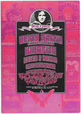 '75 JERRY GARCIA & FRIENDS BOB FRIED MEMORIAL BOOGIE WINTERLAND CONCERT HANDBILL