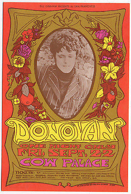 NICE MINT VINTAGE ORIGINAL 1967 DONOVAN AT THE COW PALACE FILLMORE POSTCARD BG86