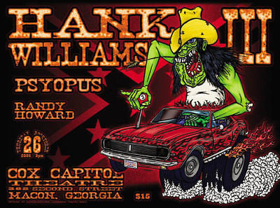 GNARLY MINT HANK WILLIAMS III 3 1967 CAMARO RS MONSTER ROD MACON GA SHOW POSTER