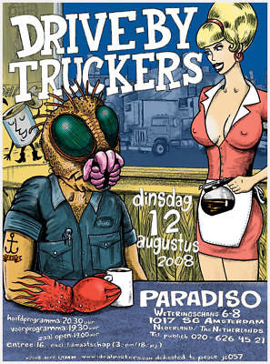 MINT ORIGINAL 2008 DRIVE BY TRUCKERS AMSTERDAM CONCERT POSTER JEFF LAMM