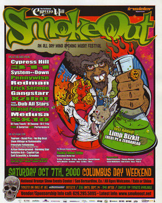 Y2K 1ST ANNUAL CYPRESS HILL SMOKEOUT SYSTEM OF A DOWN (311) LIMP BIZKIT HANDBILL