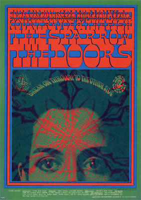 VINTAGE 1967 THE DOORS JIM MORRISON FAMILY DOG PSYCHEDELIC CONCERT POSTCARD FD50