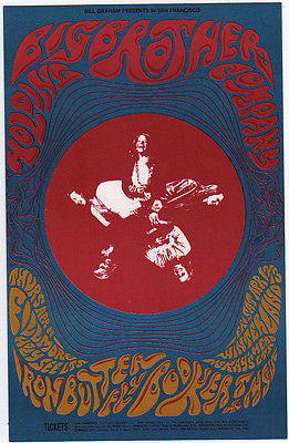MINT '68 BIG BROTHER JANIS JOPLIN FILLMORE WINTERLAND CONCERT POSTCARD BG115